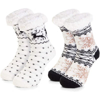 Faux Fur Slipper Socks for Women US Size 6-8 (2 Pairs)