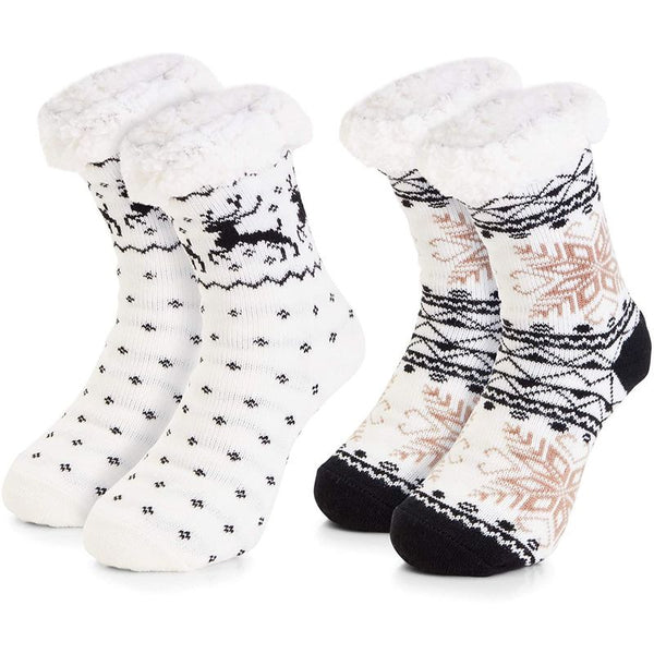 Sherpa Lined Christmas Slipper Socks for Women, Anti-Slip Sole (US Size 6-8, 2 Pairs)