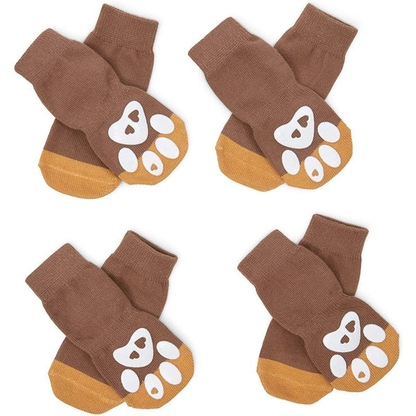 Large Dog Paw Socks for Hardwood Floor (4 Pairs, 8 Pieces Total)