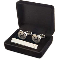 Men's Initial Cufflinks and Tie Clips Set with Gift Box, Letter M (3 Pieces)