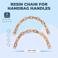 Resin Chain for Handbag Handle, Brown Purse Replacement Strap (16.5 in, 2 Pack)
