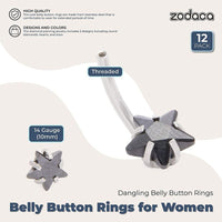Zodaca Belly Button Rings for Women, Stainless Steel (14 Gauge, 12 Pack)
