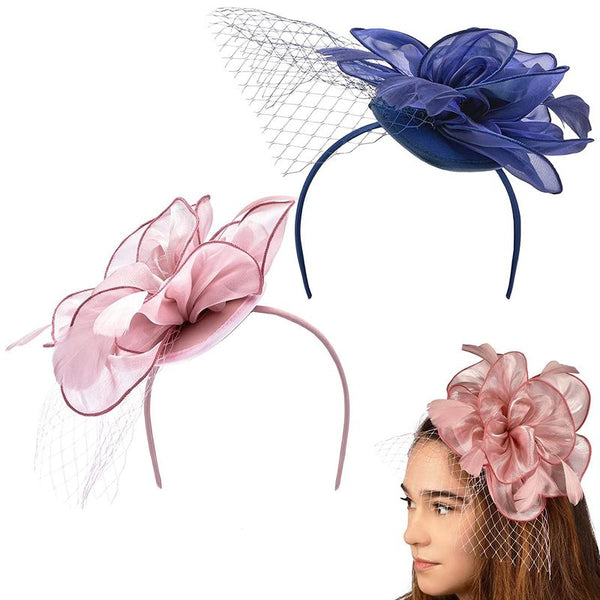 Tea Hat Fascinator Headbands for Women with Mesh and Feathers (2 Pack)