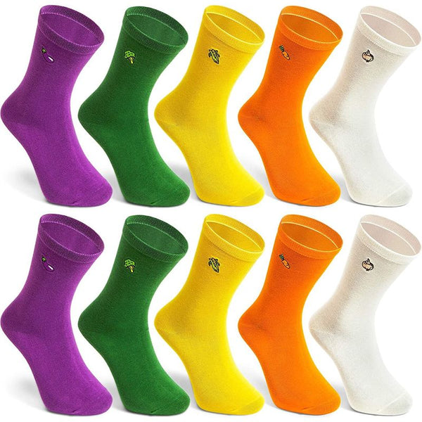 Embroidered Veggie Socks for Women in 5 Colors (5 Pairs)