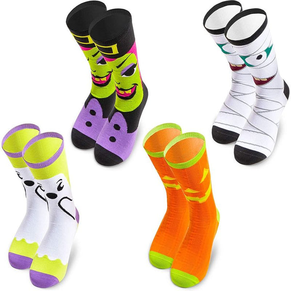 Halloween Crew Socks for Adults, Witch, Ghost, Pumpkin & Mummy (4 Pairs)