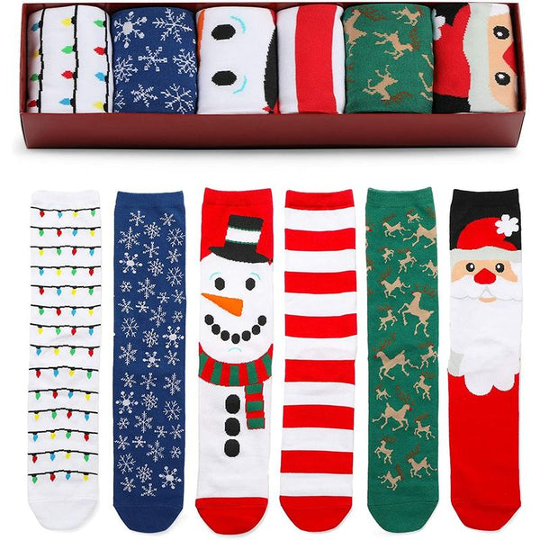 Christmas Crew Socks with Gift Box for Women and Men (6 Pairs)