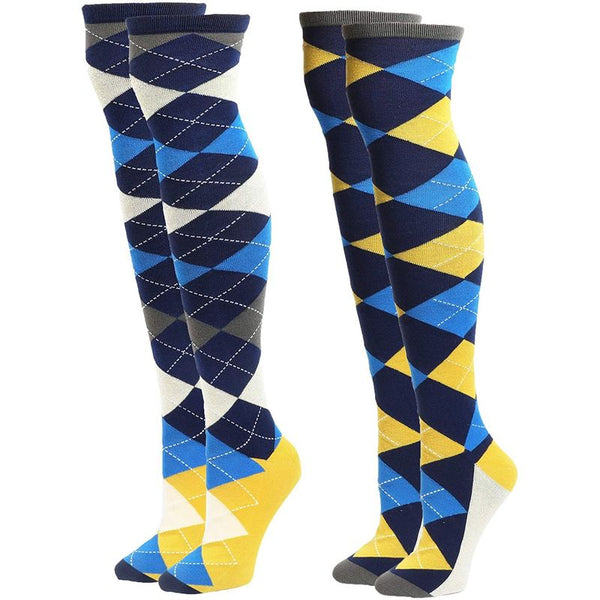 Knee High Socks for Women, Argyle (2 Pairs)