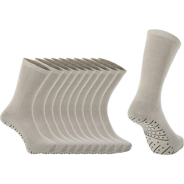Non Slip Hospital Socks for Women and Men (Grey, 5 Pairs)