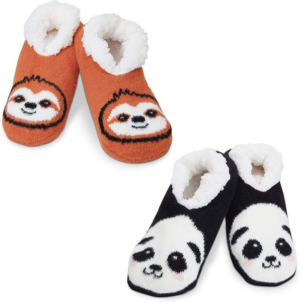 Faux Fur Non-Slip Slipper Socks for Women, Sloth and Panda (2 Pairs, Size Medium)