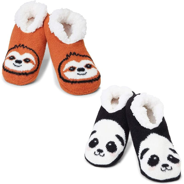 Faux Fur Slippers, Sloth and Panda (US 9-11, 2 Pairs)