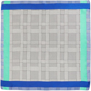 Womens Small Square Silk Satin Scarf, Grey Plaid, Bluegreen Stripes (21 x 21 In)