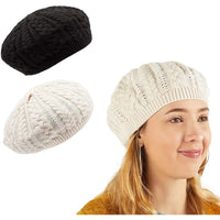 Zodaca Slouchy Beanie Hats for Women, Knit Beret Fashion Caps (Black, White, 2 Pack)