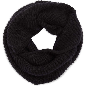 Knit Infinity Scarf for Women, Winter Scarves for Adults (Black, White, 2 Pack)
