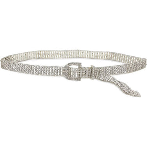 5 Row Rhinestone Belt for Women, Silver Chain Belt (40.75 Inches)