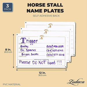 Horse Stall Name Plate, Dry Erase Sign (12 x 8 in, 3 Pack)