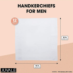 White Handkerchiefs for Men, Bamboo and Cotton (16 x 16 In, 12 Pack)