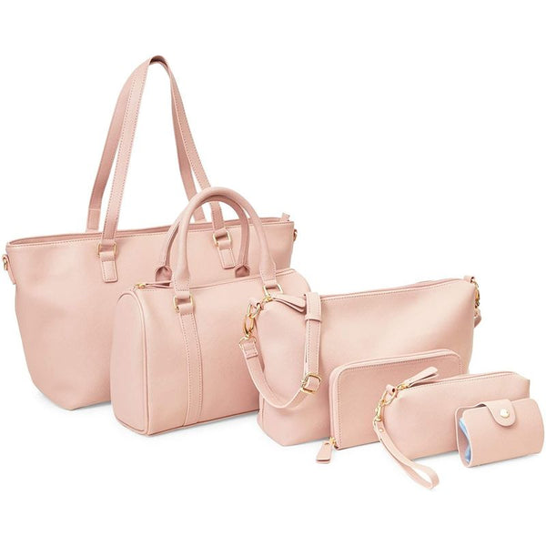 Pink Handbags Set for Women, Purses and Wallets in 6 Sizes (6 Pieces)