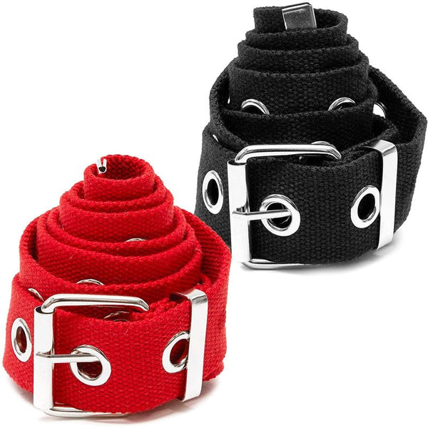 Grommet Belt for Women, Canvas, Black + Red (51 x 1.5 In, 2 Pack)