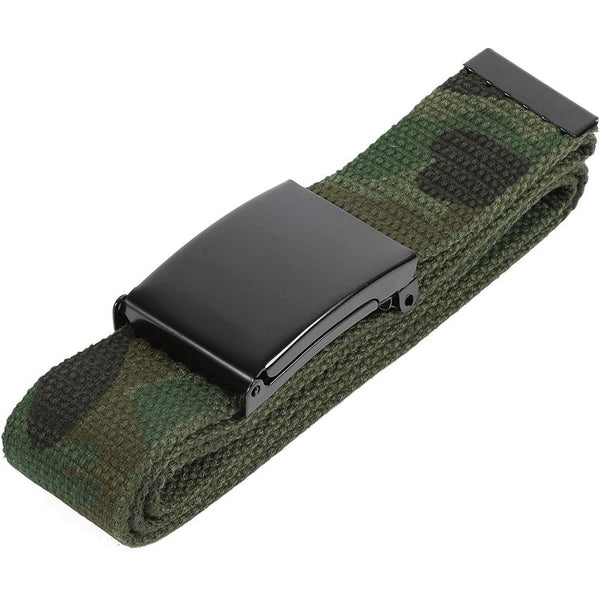 Military Web Belt with Metal Buckle for Men, 4 Colors (4 Pac