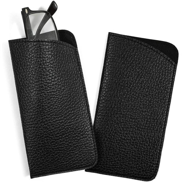 Eyeglass Pouch, Faux Leather Sunglass Case (Black, 2 Pack)