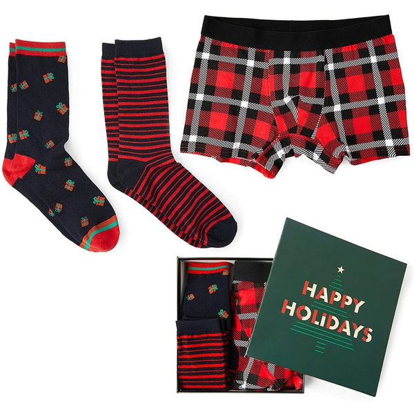 Christmas Boxer Brief and Sock Set for Men, Box Set (Red, Black, XL, 3 Pieces)