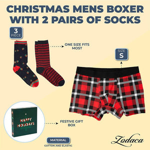 Christmas Boxer Briefs and Socks for Men, Gift Box Set (Large, 3 Pieces)