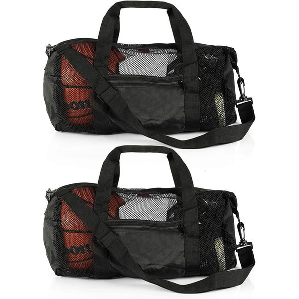 Black Mesh Duffle Bags with Adjustable Strap, Pocket (2 Pack)