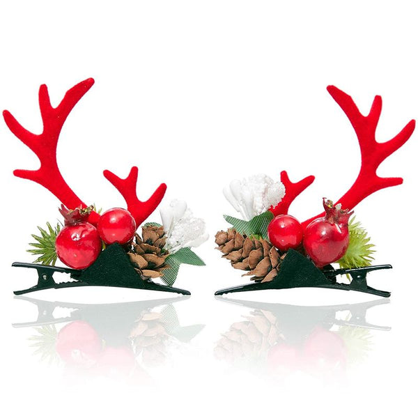 Red Reindeer and Pomegranate Christmas Hair Clips (2 Pairs)