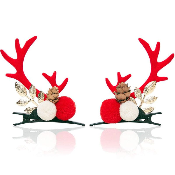 Christmas Hair Clips for Girls, Red Reindeer Antlers with Pom Poms (2 Pairs)