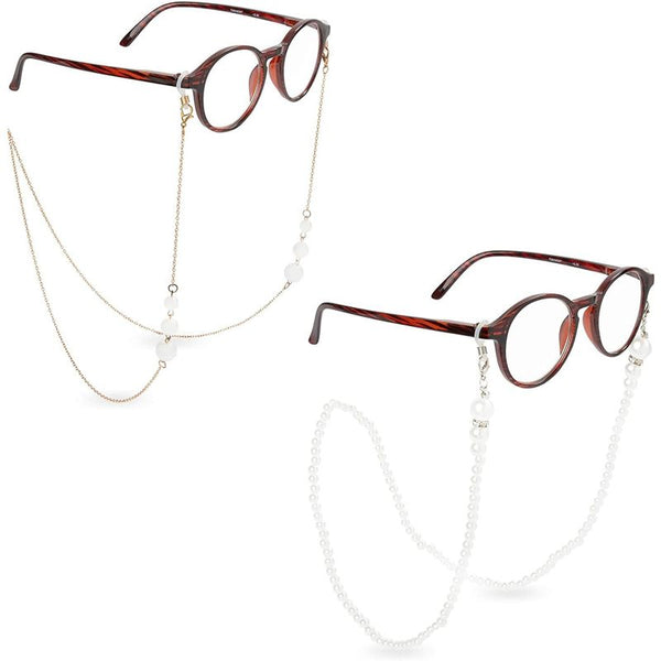 Eyeglass Chains for Women, Pearl & Gold Chain (2 Pack)
