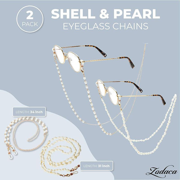 Gold Sunglasses with Shell Chain, Eyeglass Chains for Women