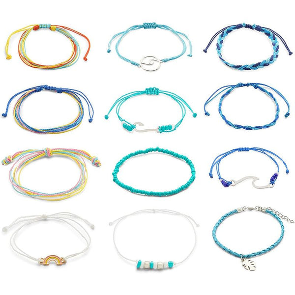Adjustable Bracelets for Women, Rainbow Jewelry, 12 Designs (12 Pieces)