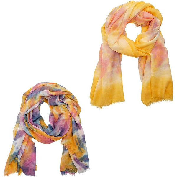 Tie Die Scarves for Women, Lightweight Spring Scarfs (35.4 x 75 Inches, 2 Pack)