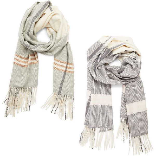 Winter Blanket Scarf, Shawl Wraps for Women (Beige, Grey, 2 Pack)