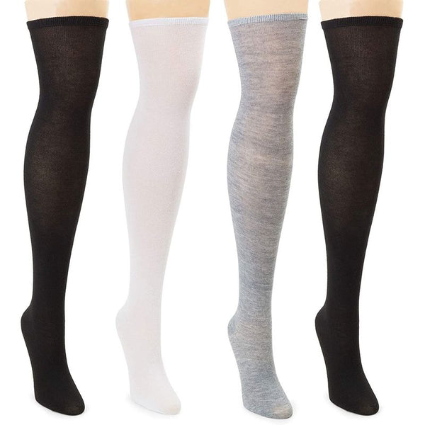 Thigh High Stockings for Women in Black, Grey, White (4 Pack)