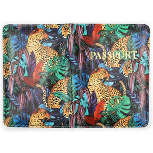 Leopard Passport Holder with 2 Luggage Tags for Women (3 Pieces)