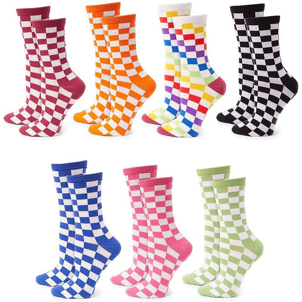 Checkerboard Crew Socks for Women and Men, 7 Colors (Unisex, 7 Pairs)