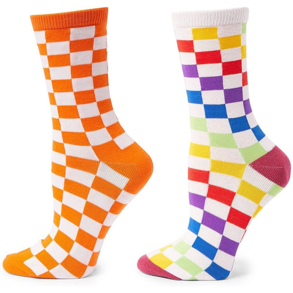 Crew Socks for Women and Men (Checkerboard, 7 Pairs)