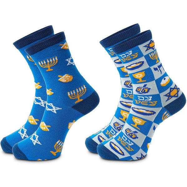 Hanukkah Crew Socks Gift Set for Women and Men (Unisex, 2 Pairs)