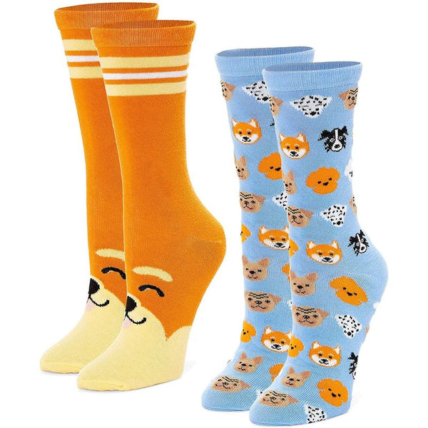 Dog Crew Socks for Women, Puppy Lovers Fun Gift Set, One Size (2 Pairs)