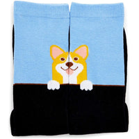 Corgi Crew Socks for Women, One Size (Blue, Black, Grey, 2 Pairs)
