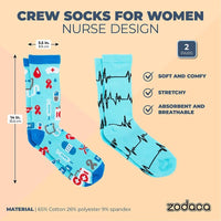 Crew Socks for Women, Nurse Appreciations Gifts, One Size (Blue, 2 Pairs)