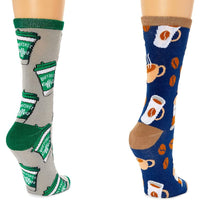 Coffee Crew Socks for Women, One Size (Grey, Blue, 2 Pairs)