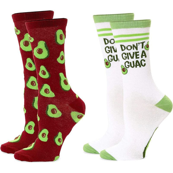 Avocado Crew Socks for Women, Fun Sock Gift Set (One Size, 2 Pairs)