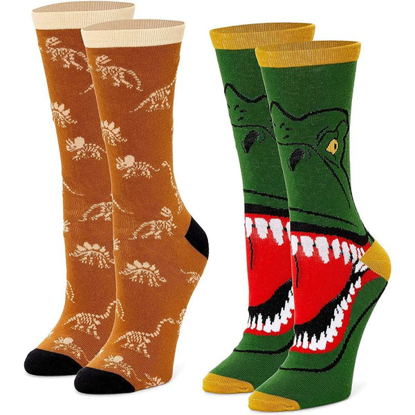 Dinosaur Crew Socks for Women, Fun Sock Gift Set (One Size, 2 Pairs)