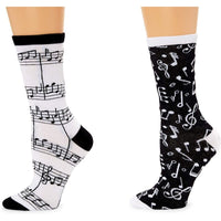 Music Note Crew Socks for Women, Fun Sock Gift Set (One Size, 2 Pairs)