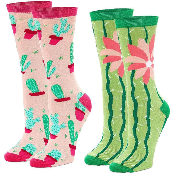 Cactus Crew Socks for Women, Fun Sock Gift Set (One Size, 2 Pairs)