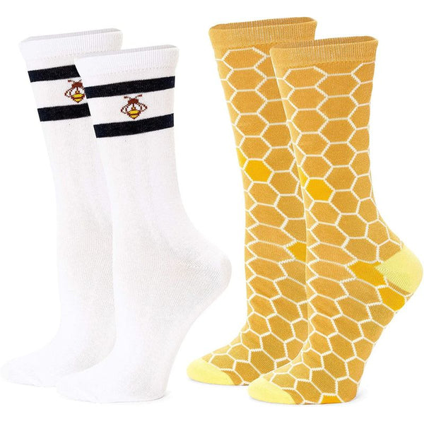 Bee Crew Socks for Women, Fun Sock Gift Set (One Size, 2 Pairs)