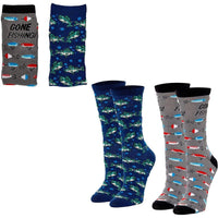 Fishing Crew Socks for Women, Fun Sock Gift Set (One Size, 2 Pairs)