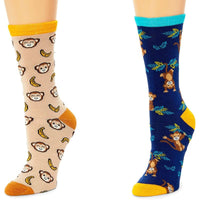 Monkey Crew Socks for Women, Fun Sock Gift Set (One Size, 2 Pairs)